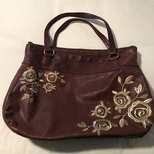 Anthropology leather embroidered handbag